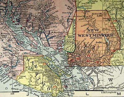 Rand Mcnally Commercial Atlas British Columbia Canada Map Page Plate 1911 Large