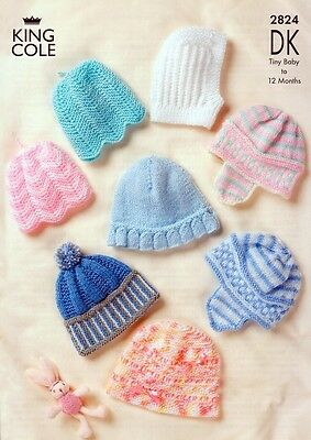 King Cole Baby Hats Big Value Knitting Pattern 2824  DK (KCP-2824)