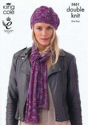 King Cole Ladies Hats & Scarves Shades Knitting Pattern 3651  DK (KCP-3651)
