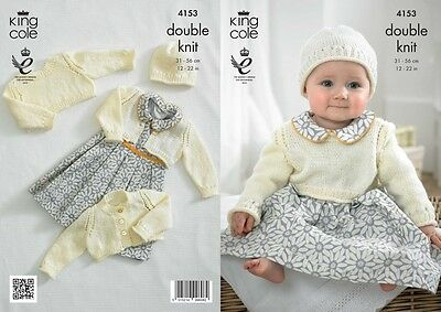 King Cole Baby Cardigans, Top & Hat Big Value Knitting Pattern 4153  DK (...