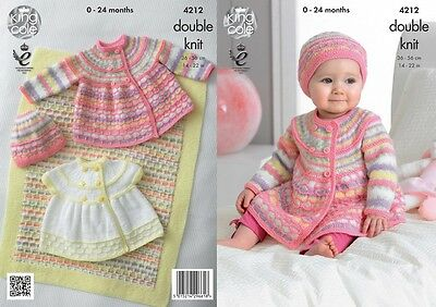 King Cole Baby Jackets, Hat & Blanket Comfort Knitting Pattern 4212  DK (...