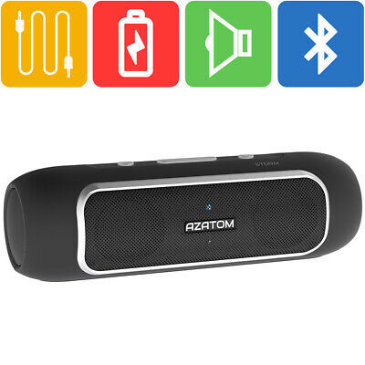 Bluetooth Speaker iPhone Android iPod 24 Watts 24hr Battery AZATOM STORM BLACK