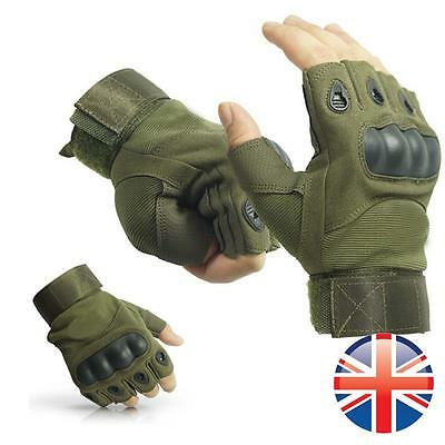 *UK Seller* Paintball Airsoft Tactical Military Fingerless Cycling Armour Gloves