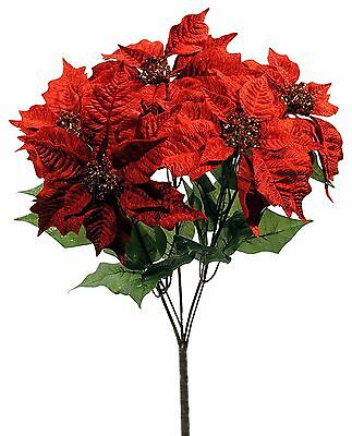 Artificial Red Velvet Poinsettia Flower Plant Christmas Holiday NEW XS82268RD