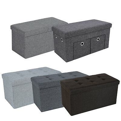 Linen Storage Ottoman Bench Stool Pouffe fabric Seat Chest Footstools Toy Box