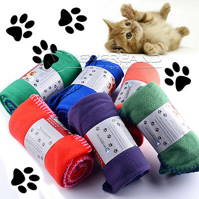 Solid Color Soft Cozy Handcrafted Pet Double-sided Fleece Blanket Dog Warm Mat