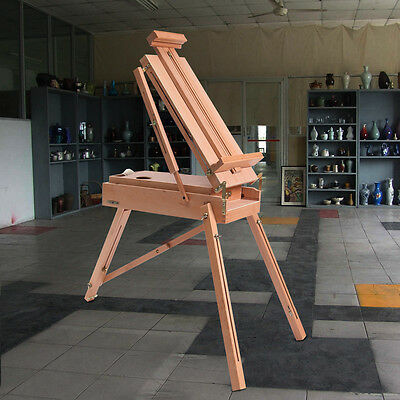 Wooden Foldable Tripod Easel Portable French Artist Folding Type Easel