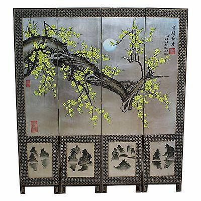 Silver Leaf with Painted Blossom Screen Room Divider Chinese Oriental Furniture