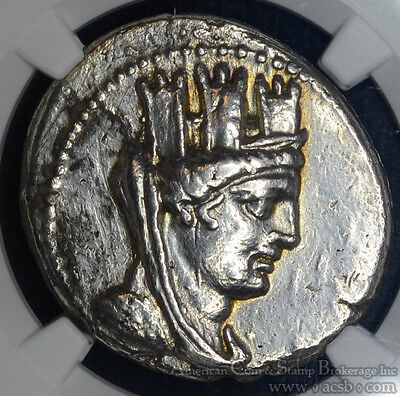 Phoenicia Arados CY185 75/4 BC silver Tetradrachm NGC EF40 Ancient Tyche Nike.