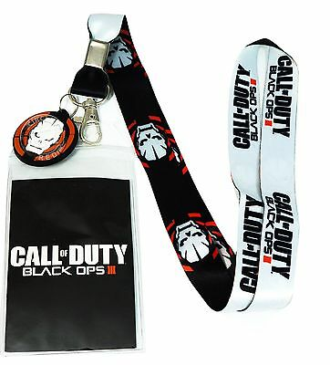 Call of Duty Black Ops III 3 Lanyard w/ ID Holder & PVC Skull Charm New Official