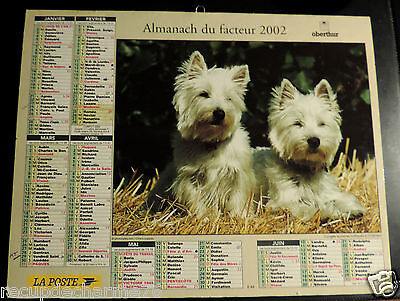 CALENDRIER ALMANACH DU FACTEUR 2002 yorkshire terrier  chiens puppies dept 76