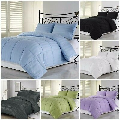 Chezmoi Collection Dobby Woven Stripe Down Alternative Comforter Set 7 Colors