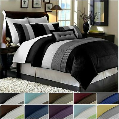 Chezmoi Collection Luxury Striped Comforter Bed-in-a-Bag Set