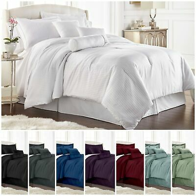 Chezmoi Collection 7-pieces Solid Color Hotel Dobby Stripe Comforter Set