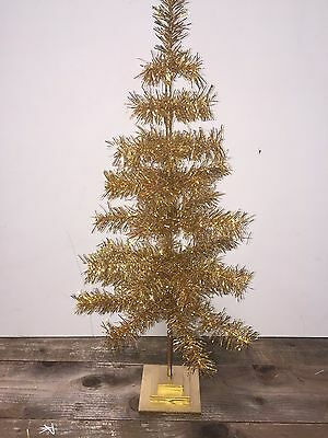 "GOLD CHRISTMAS FEATHER TREE TINSEL TABLETOP 30"" Holidays Handmade"