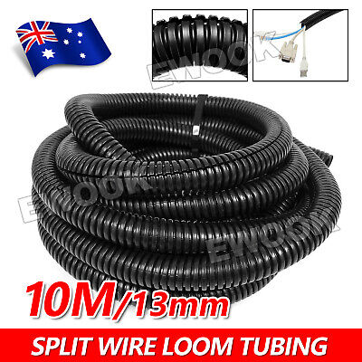 10m 10 Metres 10mm Split Loom Conduit Cable Management Convoluted Tubing Wire