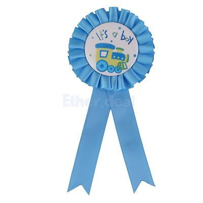 """It is a Boy"" Brosche Abzeichen Rosette für Baby Shower Babyparty Blau"