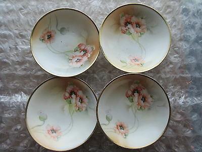 Antique Set of 4 Porcelain Bowls Prussian China Germany Poppy