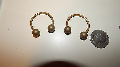 Vintage Solid  Brass Ball  Horse Shoe  Key Ring Old Stock Nice Look