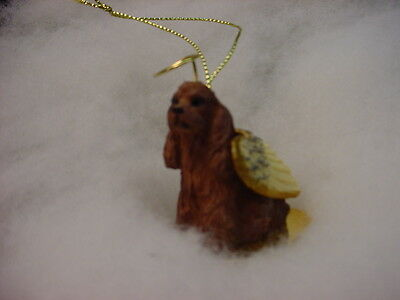 BROWN COCKER SPANIEL dog ANGEL Ornament HAND PAINTED Figurine Christmas puppy