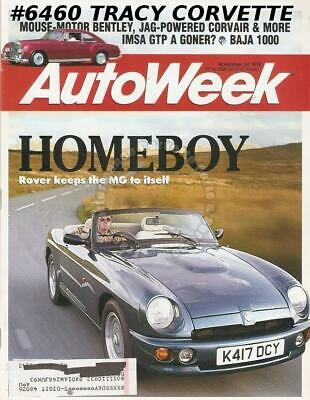 November 30 1992 Autoweek 1970-77 Triumph Stag Baja 1000 Mouse Motor Bentley