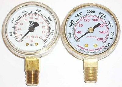 "2"" Oxygen Regulator Gauge Set for Victor or Harris New!"