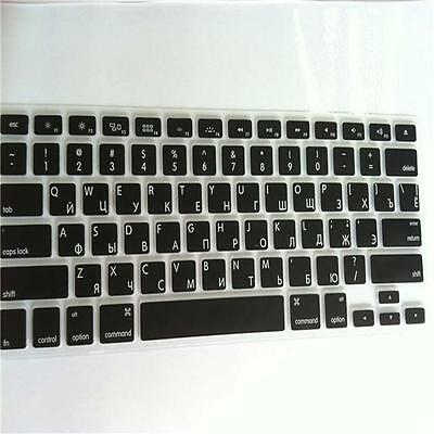Russian Black Silicone Keyboard Cover for Apple Macbook Retina Pro 13 15 uf