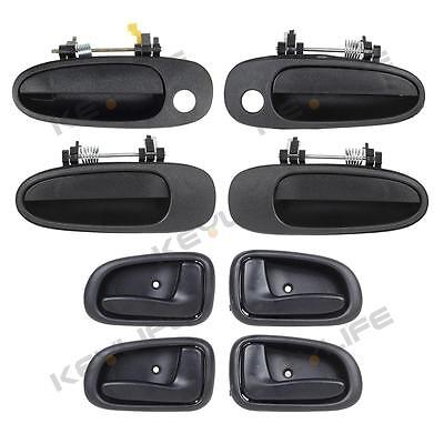 For 1993-1997 GEO PRIZM All Black Outside Inside Door Handle - Set of 8