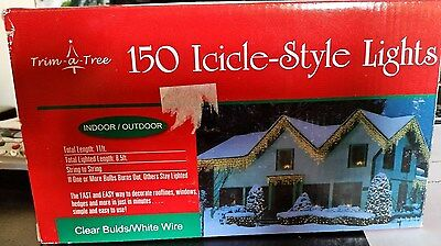 150 Light Set Add A Set Icicle Lights 8.5 ft Lighted Length Clear Bulbs