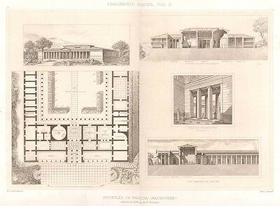 17 ~ MACDEDONIA PALACE DORIC IONIC ~ 1905 Greek Architecture Detail Art Print