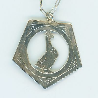 Old Vintage Mother Goose Sterling Silver Necklace Fashion  7253