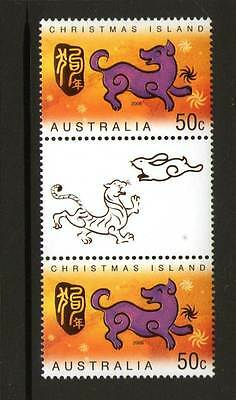 CHRISTMAS ISLAND 2006 YEAR OF DOG 50c GUTTER PAIR