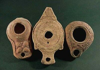 3 Ancient Terracotta Oil Lamps Variety Of Shapes & Designs Roman 100-300 Ad