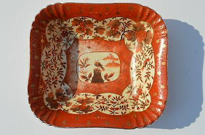 Antique Fine Japanese Hand Painted Square Bowl Birds Fruits Flowers Gold Trim
