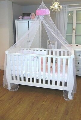 Pink Velvet White Net Baby Cot  Bed Canopy Mosquito Net