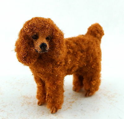 Dolls House Falcon Miniature 1:12 Pet Dog Standing Chocolate Poodle with Hair