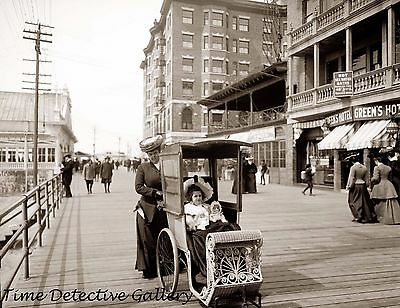 Mother Pushing a Preambler, Atlantic City, New Jersey 1905 -Historic Photo Print