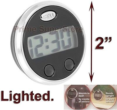 1 Black/Silver Lighted Digital Clock Round Display Car/Truck Interior Dash Mount