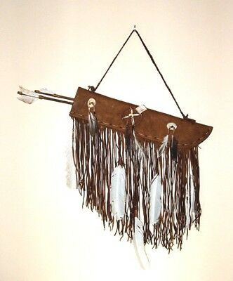 "Flat 19"" Fringed Leather Quiver w/ Two Arrows Native American Navajo #CK40"
