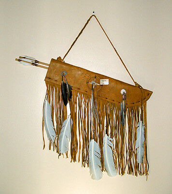 "Flat 19"" Fringed Leather Quiver w/ Two Arrows Native American Navajo #CK41"
