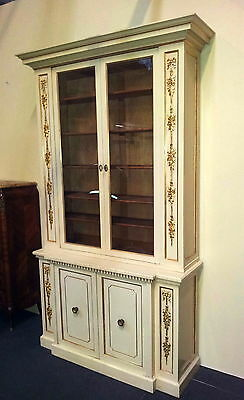 Rare Italian Lacquered Louis Xvi Bookcase With Gilt Decoration  From 1900