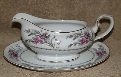 Royal Embassy Saratoga Gravy Boat with Liner Plate Pink Roses Gray Stems Leaves