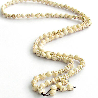 White Howlite Turquoise Skull Tibet Buddhist 108 Prayer Beads Mala Necklace-10mm