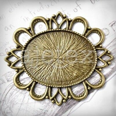 3 Flat Oval Cabochon Setting Links Antique Brass TS7381