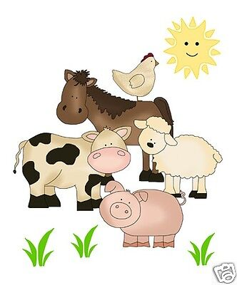 Barnyard Farm Animals Decal Stickers Wall Art Mural Baby Boy Nursery Kids Room