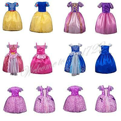 New Christmas Girl Cosplay Princess Dress Aurora Snow White Rapunzel Dress 2-8T
