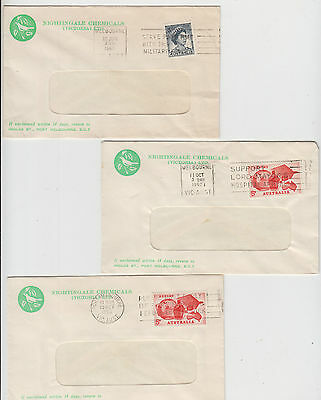 Stamps on group 3 Nightingale Chemicals Port Melbourne Victoria Australia cover
