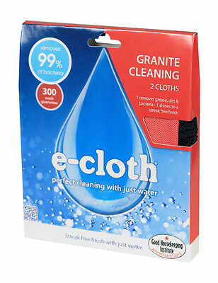 2 Pack E-Cloth For Granite Marble Worktops Sinks Tiles Cleaning Cloths Polish