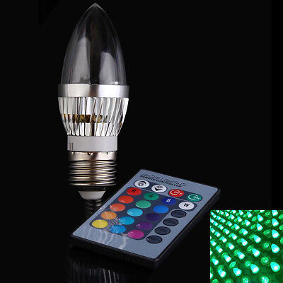 New E14/E27 RGB 3W LED 16Color Candle Soft Light Bulb Lamp with Remote Control