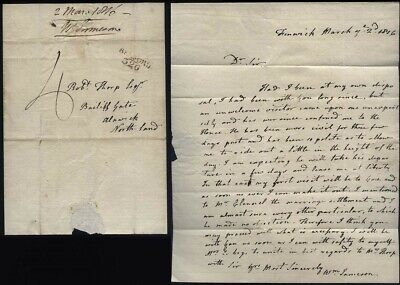 1816 BELFORD 326 P/M letter William Jameson of Fenwick to Thorp of ALNWICK